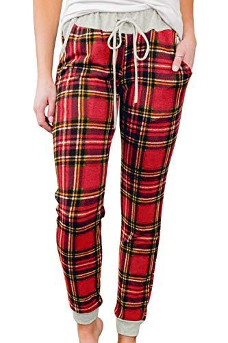 Christmas Plaid Lounge Pants for Women Print Xmas Hight Waist Jogger Pants with Pocket XL