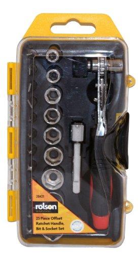 Rolson Gereedschap 28421 Offset Ratel Handvat Bit and Socket Set - 23 Stuks