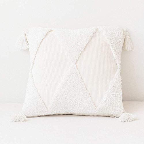 MUzoo Succinct Home decoration Cushion Cover 45x45cm Pillow Cover White Yellow Green Color Tufting Diamond Tassels Handmade For Sofa Bed,green (Color : White)