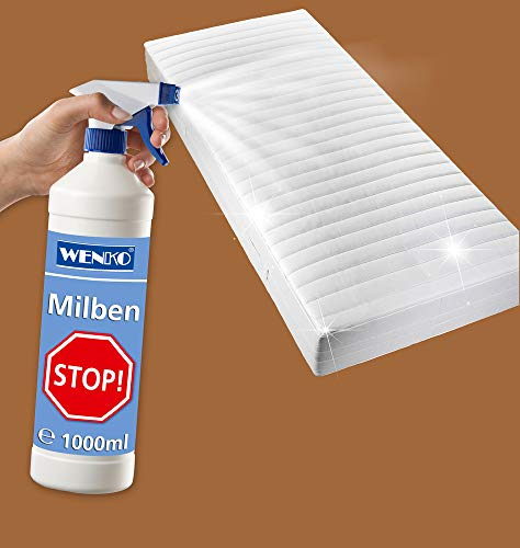 WENKO Milben-Stopp 1000 ml - antibakteriell, neutralisierend Fassungsvermögen: 1 l, Chemische Zusammensetzung, 8 x 28 x 8 cm, Transparent