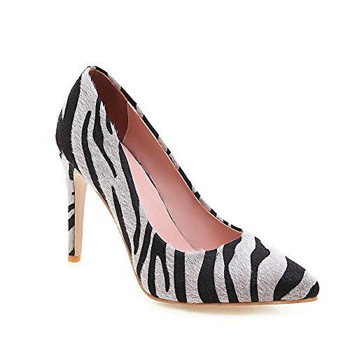 DEAR-JY Zapatos De Tacón para Mujer,Patrón De Cebra Sexy De 10 Cm Señaló Zapatos De Corte Court,Fiesta De Bodas Clubbing Vestido De Noche Bombas De Tacón De Alto Tallas Grandes,Gris,43.5 EU/9 UK