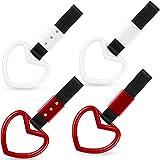 4 Pieces Tsurikawa Ring Heart-Shaped Car Hand Strap Decorative Warning Loops Bumper Warning Rings Japanese Subway Heart Handles Car Heart Hand for Car Warning and Interior Exterior Decoration