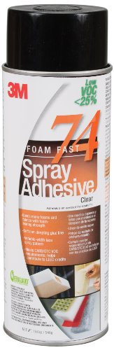 3M Foam Fast 74 CA Spray Adhesive Low VOC <25%, Clear, Net Wt 19.0 oz