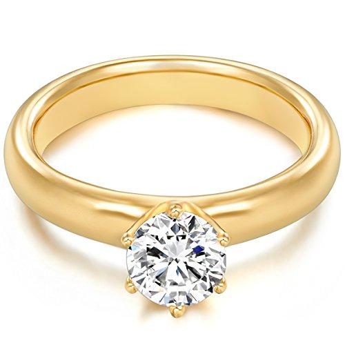 Tresor 1934 Annelli da Donna / Anello di fidanzamento / Solitario in Argento Sterling 925 dorato oro giallo Zircone bianco 60451019