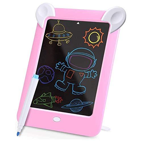 Pizarra mágica LED para niños, pizarra mágica, juego de tablero de dibujo, 4 lápices de colores, pizarra de colores para niños (rosa)