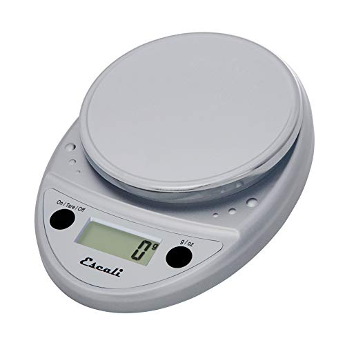 """Escali Primo P115C Precision Kitchen Food Scale for Baking and Cooking, Lightweight and Durable Design, LCD Digital Display, 8"""" x 6"""" x 1.25"""", Chrome"""