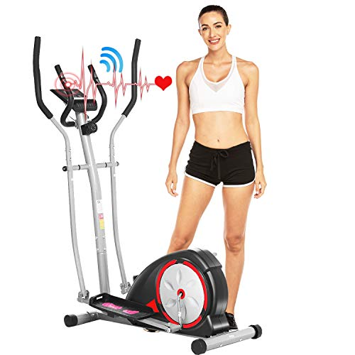 ANCHEER Elliptical Machine, Elliptical Exercise Trainer Machine with LCD Monitor and Pulse Rate Grips, Magnetic Smooth Quiet Driven for Home Using, Top Levels Elliptical Trainer (Sliver)