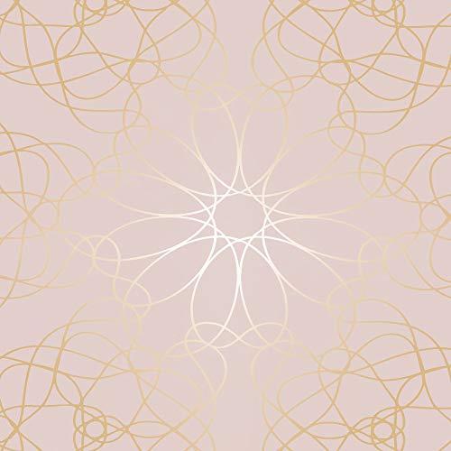 ecosoul 1,4m2 wasdoek tafelkleed Luce roze roze goud lijnen per meter wastafelkleed breedte 140cm lengte selecteerbaar (100 cm)