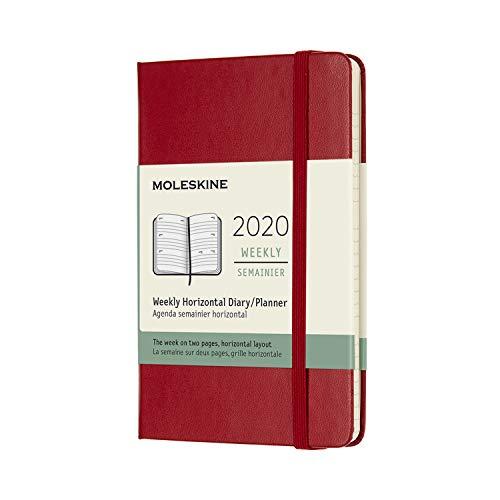 Moleskine 12 Mesi 2020 Agenda Settimanale Orizzontale, Copertina Rigida e Chiusura ad Elastico, Colore Rosso Scarlatto, Dimensione Pocket 9 x 14 cm, 144 Pagine