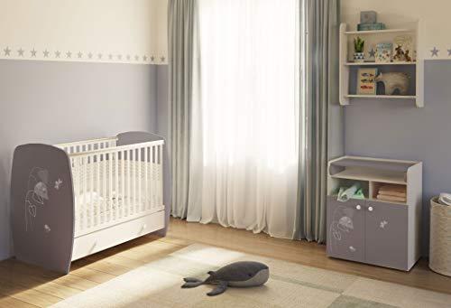 Polini Kids Kinderzimmer French Amis Kinderbett mit Wickelkommode weiß grau