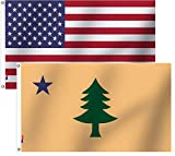 American Flag And Historic Maine State Flag 3x5 Ft Brilliant Colors Double Stitched with Brass Grommets,Indoor/Outdoor Deco Yard USA& ME Banner 1901-1909