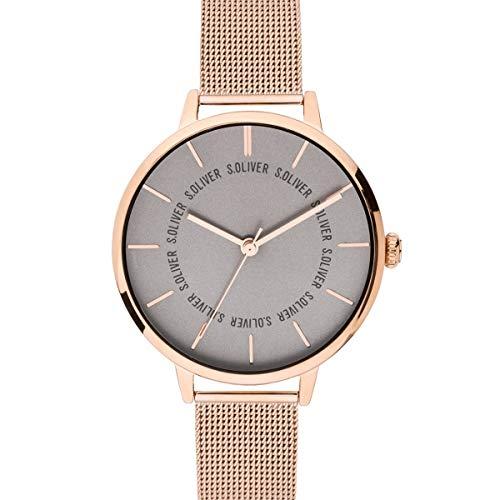 s.Oliver Damen Analog Quarz Uhr mit massives Edelstahl Armband SO-3698-MQ