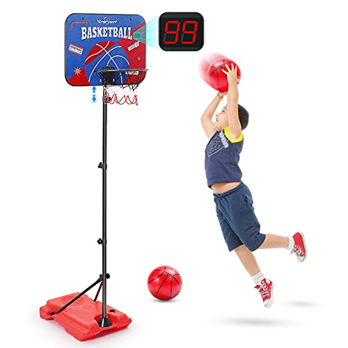 Kids Basketball Hoop with Electronic Scoreboard, Height-Adjustable 3.5-5.8 FT, Indoor and Outdoor Basketball Set for Toddlers Age 3-12, Mini Basketball Hoop Rim for Young Kids to Start Off Basketball