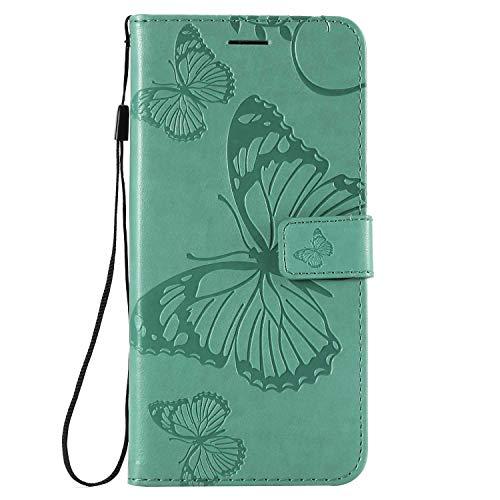 DENDICO Funda para Huawei Y9 2019, de piel tipo cartera para Huawei Y9 2019, tipo libro con función de apoyo y tarjetero, modelo de mariposa, color verde