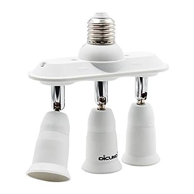 DiCUNO Light Socket Splitter Adapter, 3 in 1 E26 Socket Converter, Bulb Lamp Horizontal Designed 360 Degrees Adjustable 180 Degrees Bending
