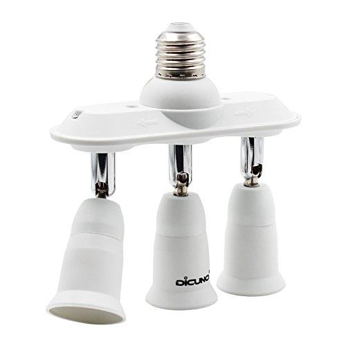 DiCUNO E27 3 en 1 Socket adattatore splitter, E27 Lampadina LED Standard, Supporto del convertitore, Presa per lampadario con 360 gradi regolabile a 180 °