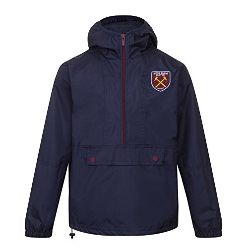 West Ham United FC - Herren Wind- und Regenjacke - Offizielles Merchandise - Geschenk für Fußballfans - Dunkelblau / Halber Reißverschluss - XL