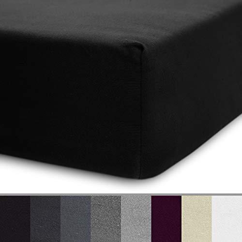 Lumaland Luxury Jersey Spannbettlaken für Wasserbett und Boxspringbett 100% Baumwolle mit Rundum-Gummizug 140-160 x 200-220 cm Schwarz