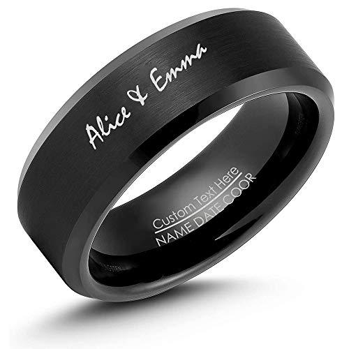 ROWAWA Anillo de titanio con borde biselado personalizado, anillo de promesa grabado con nombre personalizado, acabado cepillado/alto pulido, hombres y mujeres, aniversario de boda