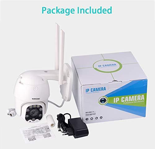 TOHHOT Electrónica Wanscam K48C 1080P WiFi Cámara IP Detección de Movimiento Seguimiento automático PTZ 4X Zoom Audio bidireccional P2P CCTV Seguridad Cámara Domo Exterior Enchufe de la UE