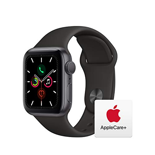 Apple Watch Series 5 (GPS, 40mm) - Space Gray Aluminum Case with Black Sport Band with AppleCare+ Bundle