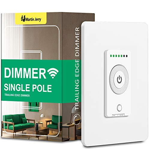 Smart Dimmer Switch by Martin Jerry   2020 new design unlocks unique features, Trailing Edge dimmer light switch is better compatibility with LED bulbs, needs neutral wire and 2.4G Wi-Fi