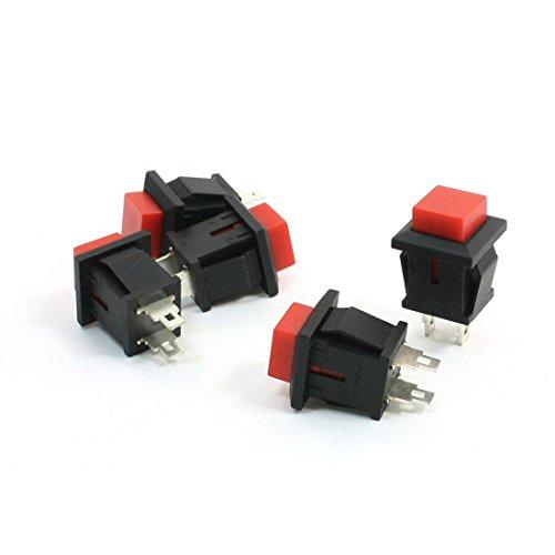 5 x cuadrado rojo cabeza pulsador interruptor SPST 125VAC 1 A