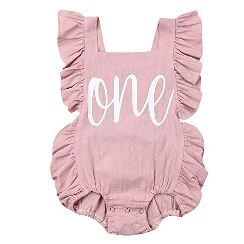 Puloru Newborn Baby Girl First Birthday Outfit Ruffle One Print Backless Jumpsuit Bodysuit (Pink,6-12 Months)