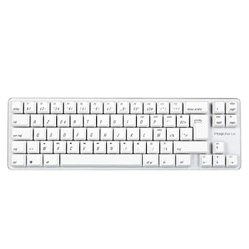 Preisvergleich Produktbild Qisan Kabelgebundene mechanische Gaming-Tastatur PBT-Tastenkappen 69 Tasten Gateron Brown-Schalter Weißes Hintergrundlicht FR AZERTY Layout Gaming-Tastatur-Weiß