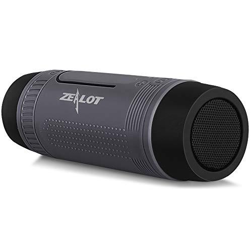 Bluetooth Lautsprecher, Tragbarer Bluetooth Speaker mit LED Taschenlampe, 4000mAh Power Bank, Freisprechfunktion für Fahrrad, Outdoor, Reisen (Grau)