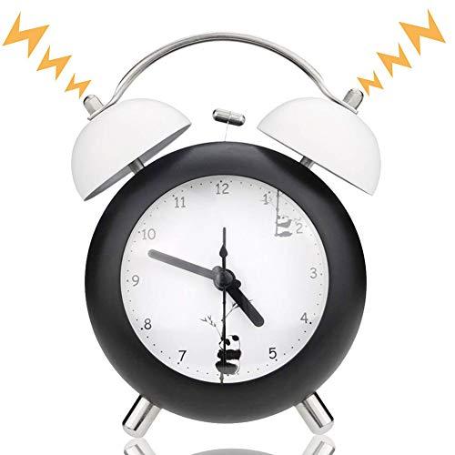 Reloj Despertador de Doble Campana con luz Nocturna Despertador Retro de Metal sin tictac, Funciona con Pilas, Tradicional, para dormitorios (Negro) Panda