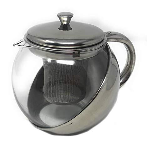 Vetrineinrete® Teiera con Filtro infusore per Tisane e The con Coperchio 900 ml in Vetro Termico e Acciaio tisaniera per tè da Cucina D69