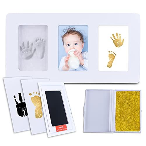 GiftPot Marco Huella Bebe de Foto para Bebés y Niños Recién Nacidos, no tóxico,100% Segura,Kits de fundición e impresión (Blanco)(L-35 * 18cm)