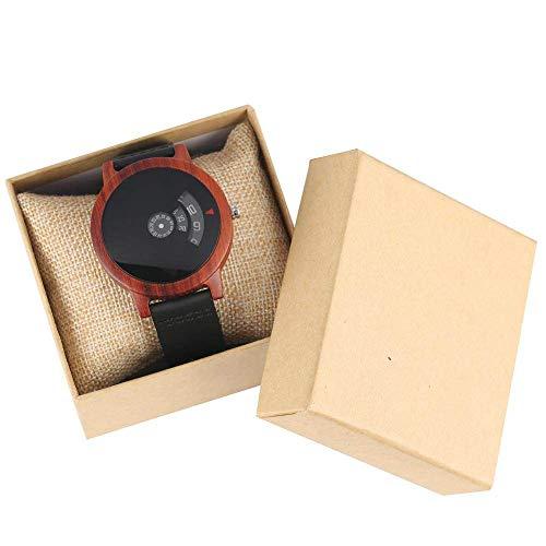 IOMLOP Reloj de Madera Minimalista Tocadiscos Reloj de Madera Esfera única en Forma de Abanico Diseño artístico Cuarzo Caja de sándalo Rojo Correa de Cuero Reloj de Pulsera Masculino, Rojo con Caja