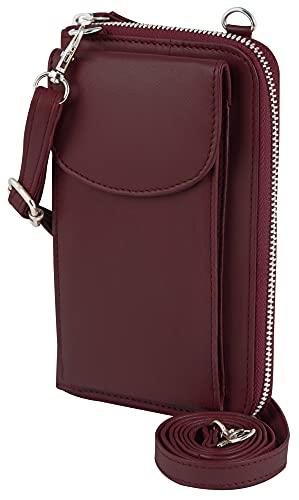 Akzent Funda para teléfono móvil con cartera, 19,0 x 11,0 x 5,4 cm, color rojo oscuro