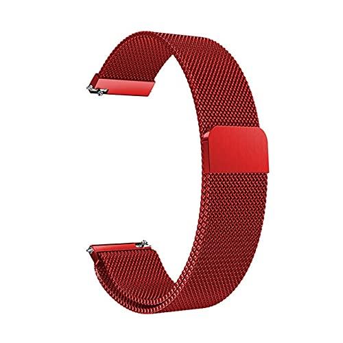 WGDPMGM Cinturino Magnetico in Acciaio Inox 18mm, 20mm, 22mm Nero Rosa Oro Argento Braccialetto Magnetico (Band Color : Red, Band Width : 18mm)