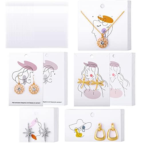100 Tarjetas de Exhibición de Aretes Minimalistas con 100 Bolsas Transparentes de Embalaje de Aretes Fundas de Tarjetas Pendiente Tarjetas de Pendientes Joyas para Exhibición de Joyería DIY