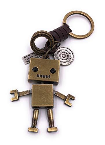 H-Customs Roboter mit Mund golden Schlüsselanhänger Anhänger aus Metall