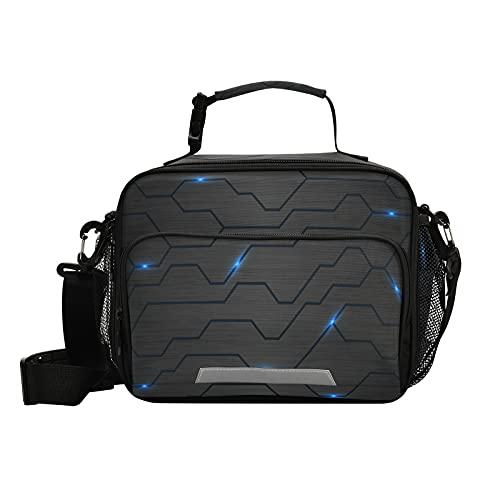 Bolsa de almuerzo para mujer y hombre, con aislamiento de metal, color negro, azul