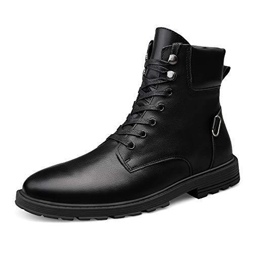 HuiLai Zhang Men's Fashion Enkellaarsjes Warm Velvet Casual British Style Simple Anti-slip buitenzool Veters Boots (Conventionele optioneel) (Color : Black, Size : 39 EU)