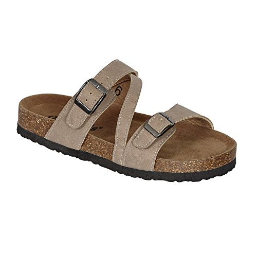 OUTWOODS Bork-56 Women's Strappy Buckle Slide Sandals (6 B(M) US, Taupe-Nubuck)