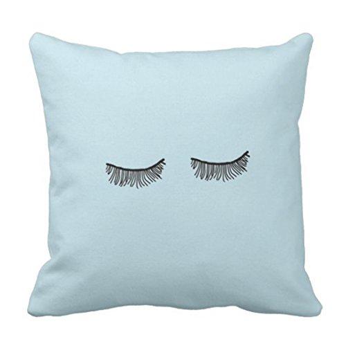 Fundas Cojín Almohada Microfibra 45x45cm Eye Cute Tumblr Blue Eyelash Simple Decorativa con Cremallera Invisible Funda Cojín