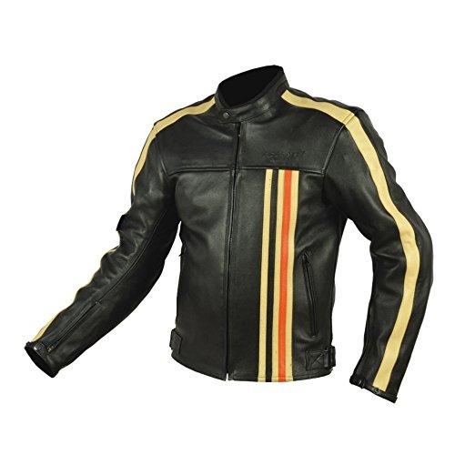 RIDER-TEC – Blouson Moto Cuir Vintage – Noir-Beige-Orange – Élégance et Sécurité – Protections Fournies – Homologué CE - Taille-L
