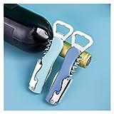 LVTONG Sacacorchos 4 en 1 Multifunción Cerveza Botella Openador Tapa de Vino Tornillo Ayuda Vino Sacacorchos Regalos de Boda para huéspedes Cocina Herramientas Accesorios Sacacorchos Profesional