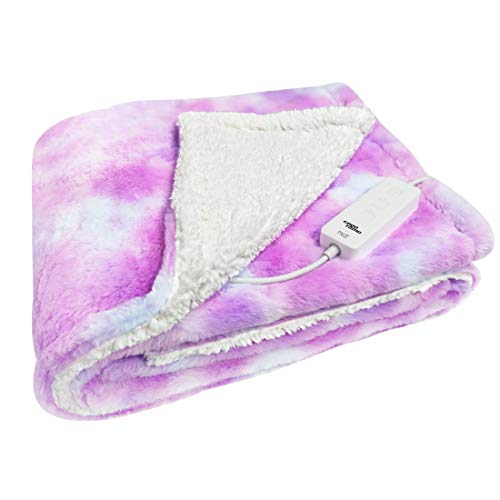 """GOQOTOMO Electric Heated Blanket 50"""" x 60"""" Throw Wrap with 3 Heating Levels for Home Office Use Pink Tie dye"""