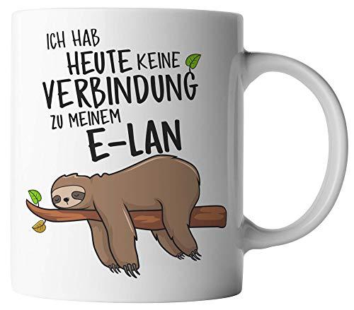 vanVerden Tasse - Ich habe heute keine Verbindung zu meinem E-Lan - Faultier - beidseitig Bedruckt - Geschenk Idee Kaffeetassen, Tassenfarbe:Weiß