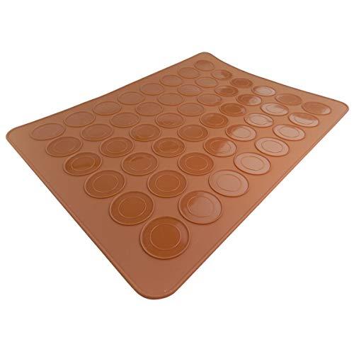 JJOnlineStore – Tapis de cuisson en silicone antiadhésif pour 24 macarons parfaits, 48 moules à cavités – 39,1 x 29 cm – Marron