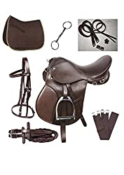 powerful Lussoro English Riding Leather Saddle Starter Kit Brown Combo Saddle (Size 15)