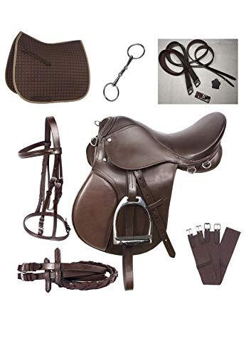Lussoro Leather English Riding Horse Saddle Starter Kit Brown Saddle Combo Pack (Size 19)