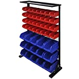 <span class='highlight'><span class='highlight'>SOULONG</span></span> Garage Tool Organiser Boxs, Wall Mounted Bin Compartments Panel Tool Shelving Storage Box Rack, Workshop Unit Case Kit, 47pcs Blue and Red 83 x 24.5 x 115.5 cm